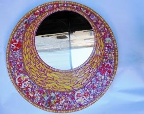Miroir Pop, mosaïque picassiette, (diamètre total : 80cm)
