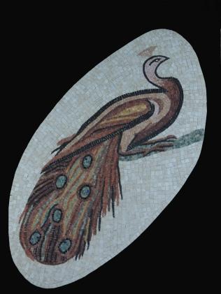mosaïque romaine, Paon en marbre