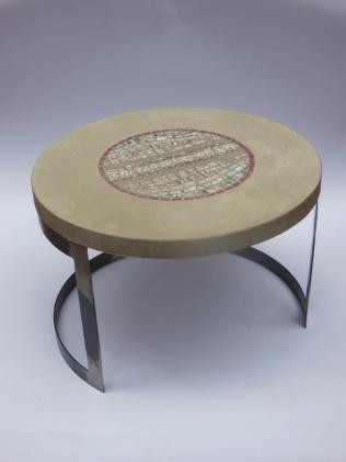 table basse béton et mosaïque (diamètre 60 cm, hauteur 40 cm)