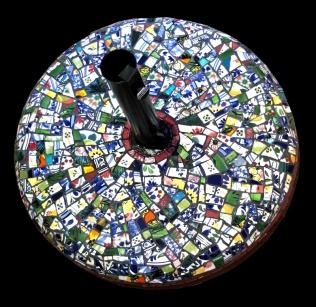 Pied Parasol mosaïque picassiette Vanina Mercury