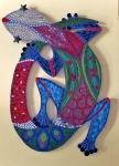 bijoux de jardin, gecko, pâte de verre et miroir, 120cmx60cm