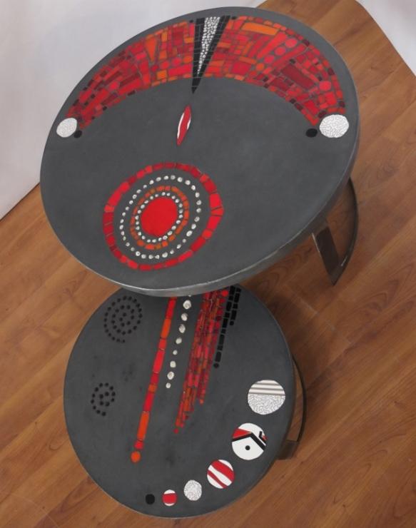 tables basses de jardin duo, béton et mosaïque