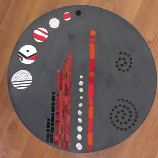tables basses de jardin duo O, béton et mosaïque