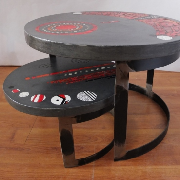tables basses de jardin duo, béton et mosaïque, pied métal (60cm de diamètre, 40cm ht // 43 cm de diam, 23cm ht )