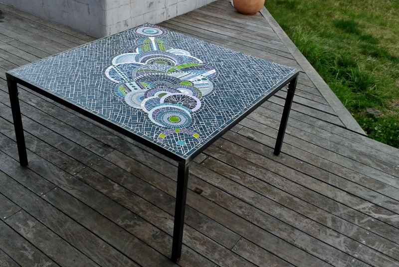 Table de jardin, mosaique vanina mercury, pate de verre Albertini 2 ...