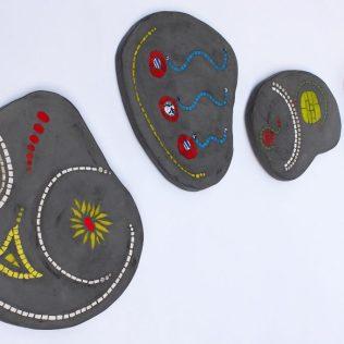 série de 4 pas japonais forme goutte, 40cm,35cm,30cm,25cm