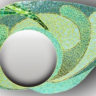 Miroir pour extérieur : drops (1m45x0,90), pâte de verre, verre, albertini