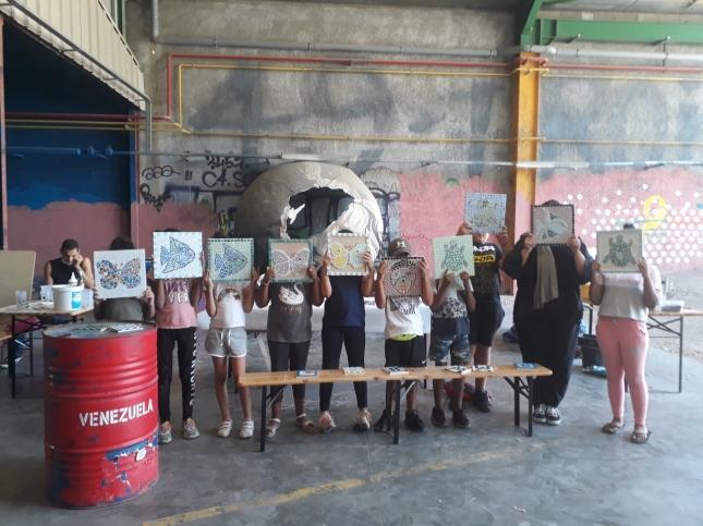 Atelier dans le cadre d'une action culturelle à la cité des arts de la rue, Marseille